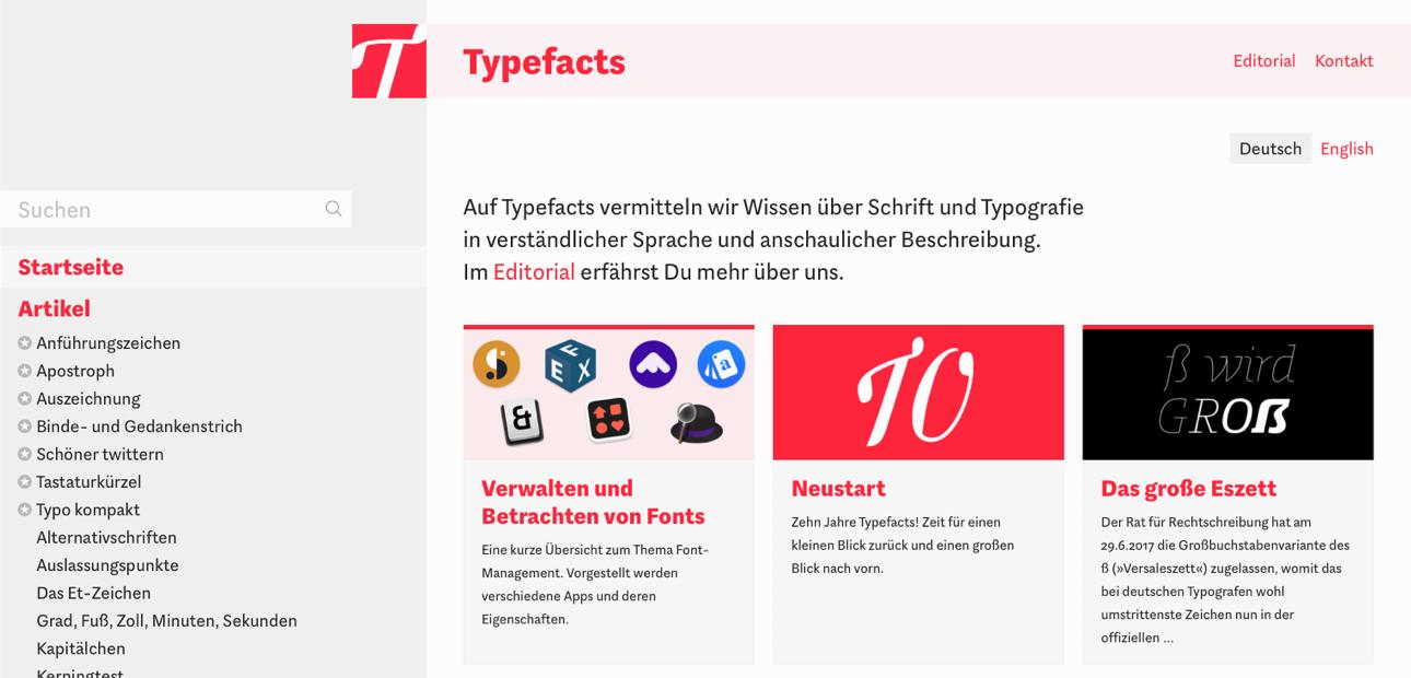 Screenshot der Typefacts-Seite
