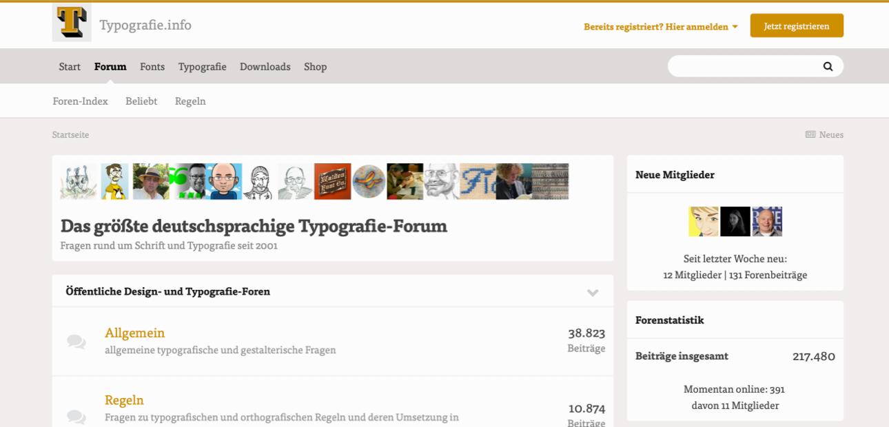 Screenshot der Website »Typografie.info«