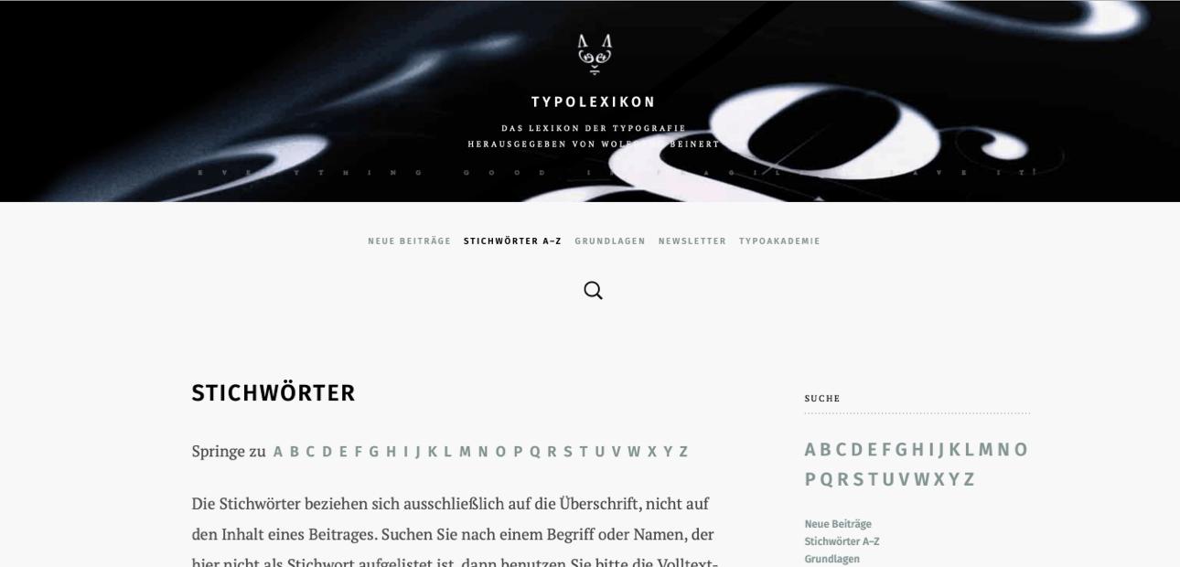 Screenshot der Website »Typolexikon«